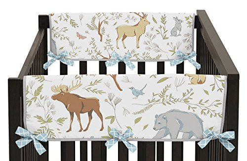 (Sweet Jojo Designs Baby Crib Side Rail Guard Wrap Covers Teething Protector for Woodland Animal Toile Girl or Boy Bedding Collection )
