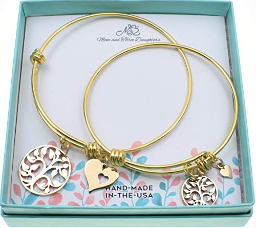 Mother Daughter bangle bracelets in gold stainless steel with golden bronze tree of life charms and heart charms. Mother daughter set. ()