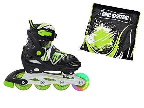 Epic Helmets - Epic Rage Black & Green Adjustable LED Light Up Inline Skates w/ Matching Drawstring Bag (Youth 1-4)