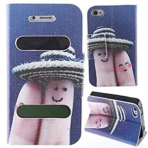 ZLXUSA (TM) Lovely Fingers With Hood Pattern New Smart Luxury Flip Leather with Stand Cover Case for iPhone 4/4S