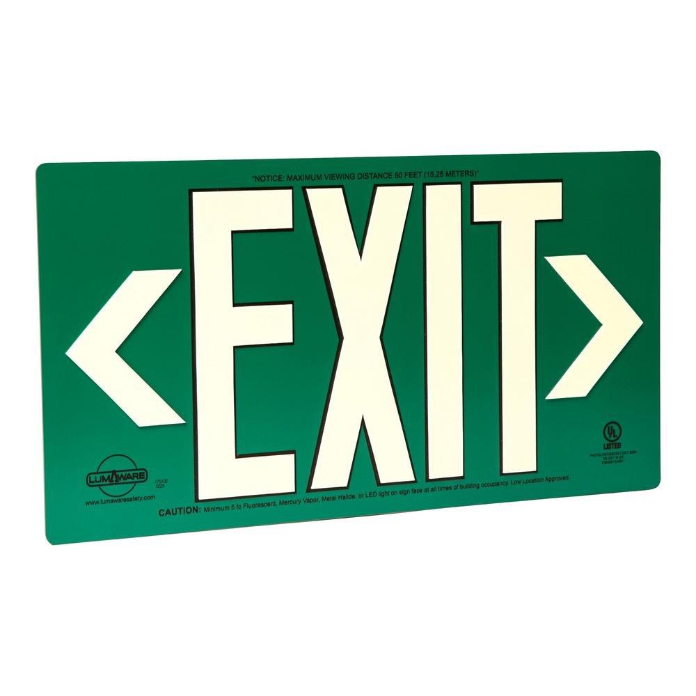 LumAware Green Metal LumAware Aluminum Energy-Free Photoluminescent UL Listed Emergency Exit Sign (LED Lighting Complian