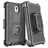 Note 3 Case, Galaxy Note 3 Case, BENTOBEN Shockproof Heavy Duty Protection Hybrid Rugged Samsung Galaxy Note 3 Case Rubber Built-in Rotating Kickstand Belt Swivel Clip Holster Note 3 Case, Black