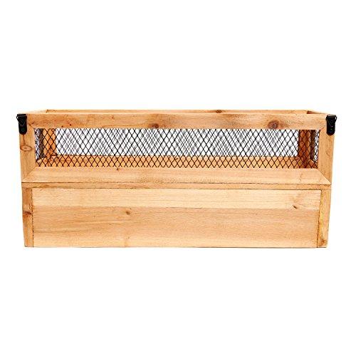 wood metal wall mounted mail organizer letter holder basket rack w key hooks ebay. Black Bedroom Furniture Sets. Home Design Ideas