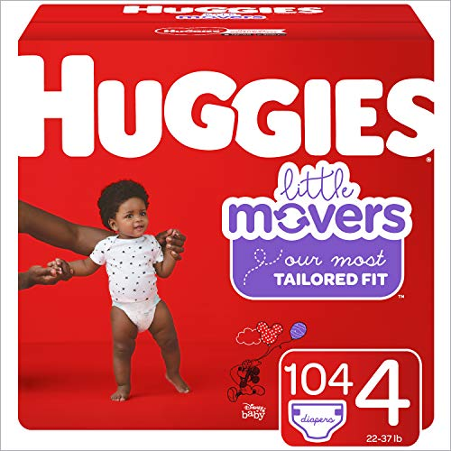 HUGGIES Little Movers Diapers, Size 4, 104 Count (Packaging May Vary)