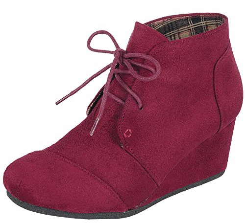 Forever Link Women's Lace Up Hidden Wedge Ankle Bootie (8 B(M) US, Burgundy)