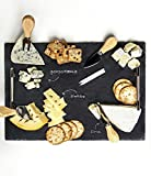 "Slate Cheese Board - 7 pc Serving Tray Set 16""x12"" Large - Stainless Steel Handles - Soapstone Chalk - 4 Cheese Knives - Foam Protective Feet by Proper Goods"