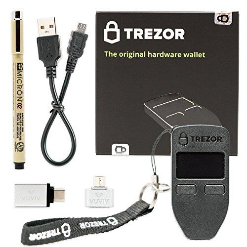 VUVIV Trezor (Black) Bitcoin Hardware Wallet Bundle With Micro-USB Adapter, USB-C Adapter for MacBook and Sakura Pigma Archival Ink Pen (4 items)