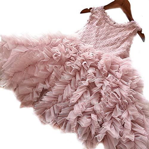 NNJXD Girls Lace Pageant Princess Party Dress Ruffles Tutu Dresses Size (140) 7-8 Years (Pink Princess Flower Girl Dresses)