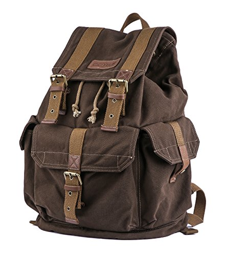 Gootium 21101CF Specially High Density Thick Canvas Backpack Rucksack,Coffee by Gootium (Image #2)