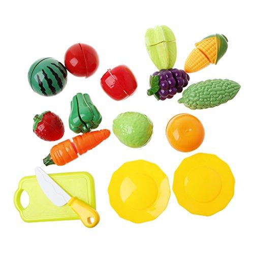 JAGENIE 16Pcsロールプレイキッチンフルーツ野菜食品おもちゃカットセット子供GiftChristmas新年のギフト、1 PC、ランダム配信