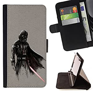 Darth Superhero - Painting Art Smile Face Style Design PU Leather Flip Stand Case Cover FOR Samsung Galaxy S5 V SM-G900 @ The Smurfs