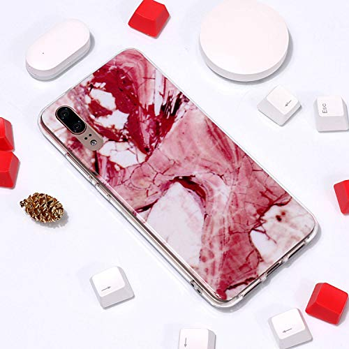 for Huawei P20 Pro Marble Case with Screen Protector,Unique Pattern Design Skin Ultra Thin Slim Fit Soft Gel Silicone Case,QFFUN Shockproof Anti-Scratch Protective Back Cover - Red Texture by QFFUN (Image #3)