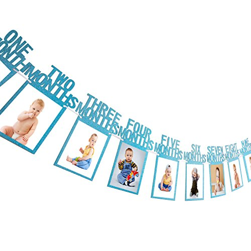 Bememo 1st Birthday Bunting Garland Baby Photo Banner Baby 1-12 Month Photo Prop Party Bunting Decor Thickened Card Paper (Blue) -