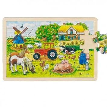 Goki Juego de mesa PUZZLE DE MADERA 24 piezas Modelo LA GRANJA 20 ...