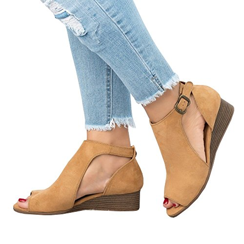 Liyuandian Womens Open Toe Lace Up Strappy Platform High Heel Sandals