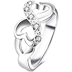 BOHG Jewelry Womens Fashion Silver-Plate Cubic Zirconia CZ Heart Infinity Symbol Ring Valentine's Day gift