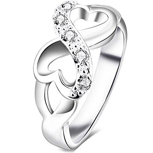 bohg jewelry womens fashion silver plate cubic zirconia cz heart infinity symbol ring wedding band size 7 - Wedding Rings Amazon