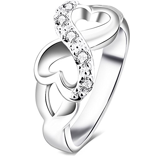 BOHG Jewelry Womens Fashion Silver-Plate Cubic Zirconia CZ Heart Infinity Symbol Ring Wedding Band Size - Rings