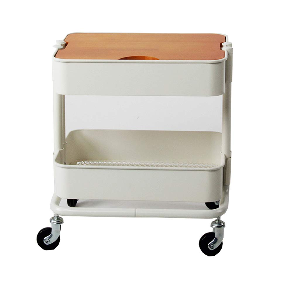Two-Tier Rack Metal Cart with Wheels,Kitchen Multi-Function Fruit and Vegetable Trolley, Storage Cart Ersatile Storage Cupboard with Casters Utility Small Rolling Cart by Kitchen Cart (Image #1)