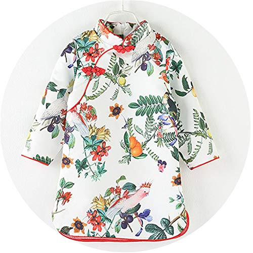Spring Summer Chinese Dress Vintage Floral Girls Dresses Cheongsam Costume Children Clothing,D,2T