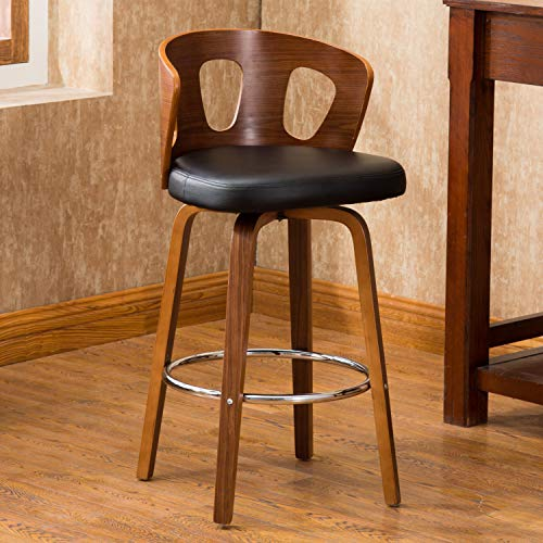 Chair Heights Leather Pacific (AC Pacific Wood Barstool with Decorative Back 26-inch Seat Height Faux Leather Mid-Century Modern Swivel, Black)