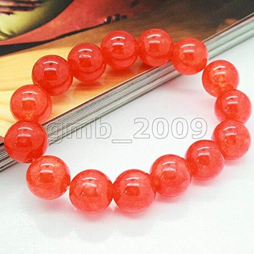 FidgetKute Real Natural 12mm Jade Jadeite Gems Round Beads Stretchy Bangle Bracelet 8 Color Orange Red