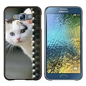 LECELL--Funda protectora / Cubierta / Piel For Samsung Galaxy E7 E700 -- Gatito Blanco Azul Verde Marrón Ojo Mestizo --