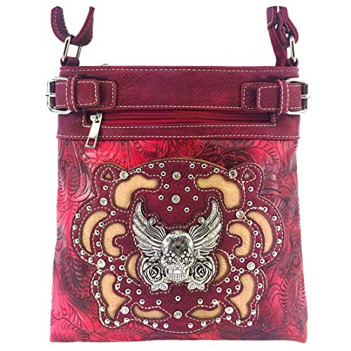 Justin West Tooled Winged Sugar Skull Roses Laser Cut Crossbody Messenger Bag Handbag Purse with Concealed Carry and Phone Slot (Red)