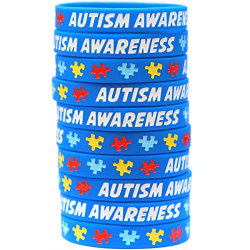 10 Autism Awareness Wristbands - Colorful Puzzle Pieces Silicone Bracelets