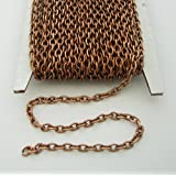 BeadsTreasure 15ft Spool-Antiqued Copper Round Cable Unfinished Chain-3x2x0.6mm Jewelry Making Supply.