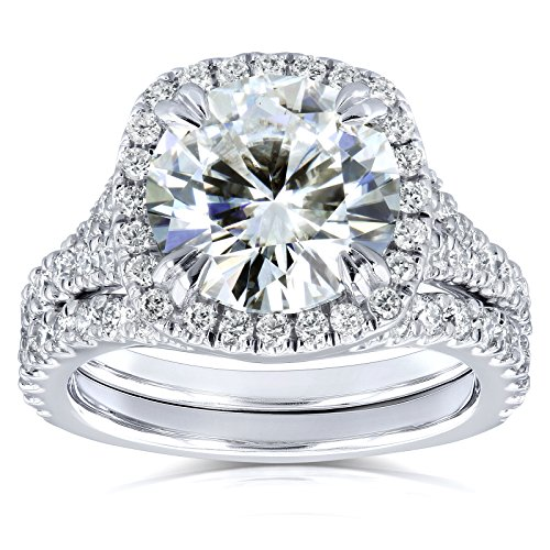 Round H-I Moissanite and Diamond Cushion Halo Bridal Wedding Set 4 CTW 14k White Gold, 6.5