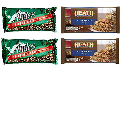 Heath Bits (Holiday Baking Bits Variety Pack Featuring Andes Crème De Menthe Baking Chips and Heath Toffee Bits O Brickle Pieces. Who Doesnt Love Delicious Home Made Holiday Cookies?)