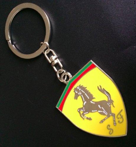Fashion Zinc alloy Car Emblem Logo Shield Keychain Key Chain Keyring Key Ring For Ferrari