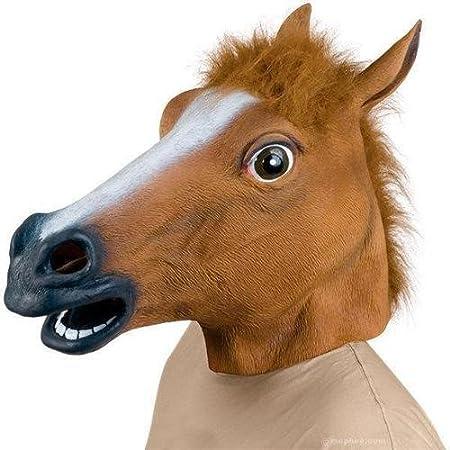 Gummi Pferd Kopf Maske Braun Braun Latex Gummi Pferd Kopf Maske Kost/üm Halloween Gangnam Stil Tanz-Eins JRing Kopfmaske