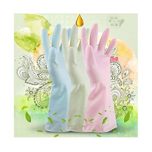 DOWELL Skin care, household gloves, washing dishes, laundry, kitchen, household cleaning, waterproof and waterproof plastic 3 Pairs/3 Colors