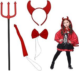 Luhiew Halloween Devil Costume Kit for Girls,Include Devil Horn Headband Red Tie Devil Tail Devil Red Pitchfork