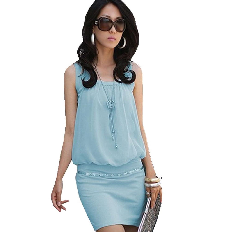 Anermy Women Sleeveless Round Pleated Neck Package Hip Tunic Short Chiffon Dress