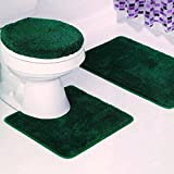 BATHROOM SET RUG CONTOUR MAT TOILET LID COVER PLAIN SOLID COLOR BATHMATS HUNTER GREEN #6 3PC
