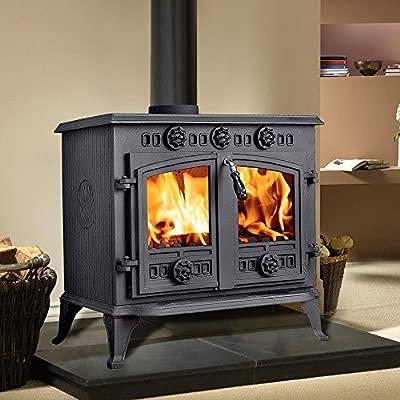 Lincsfire 12KW Sudbrooke Cast Iron Multifuel Woodburning Stove Log Burner Woodburner Fireplace JA006