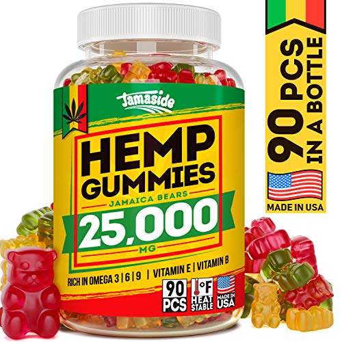 Hemp Gummies 25000 MG, 277 MG per Sweet - Premium Hemp Complex - Made in USA - Delicious Hemp Oil Gummies for Stress & Anxiety Relief - 100% Natural & Safe - Great Immune & Mood Support - Omega 3-6-9 ()