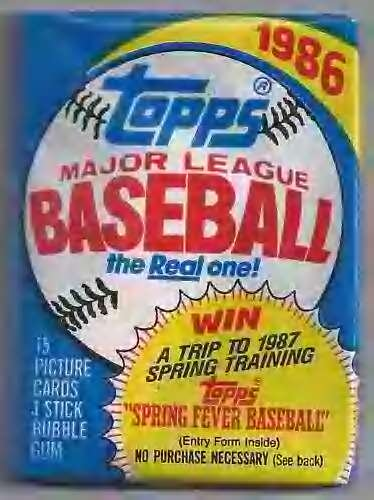 Lot of 3 1986 Topps Baseball Wax Packs (45 Cards (Topps Wax Pack)