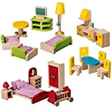 #2: Wooden Dollhouse Furniture Bundle: Including 1 Living Room Set, 1 Bedroom Set & 1 Kitchen and Dining Room Set - Colorful Dollhouse Accessories Set - by Dragon Drew (27 PCS)