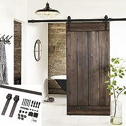 Erfect 6.6 FT Brown Basic Wood Barn Door Steel Antique Style Sliding Hardware Track Set Coffee