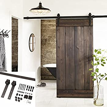 Erfect 6.6 FT Brown Basic Wood Barn Door Steel Antique Style Sliding  Hardware Track Set Coffee