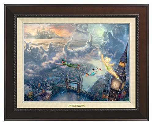 Thomas Kinkade Canvas Classic Tinker Bell and Peter Pan Fly to Neverland - 12'' x 16'' - Espresso Frame - 57965
