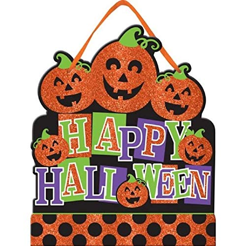Glitter Jack-o-Lanterns Happy Halloween Sign -12.5 Inches -