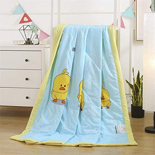 Summer Thin Quilt Air Conditioning Blanket Cartoon Yellow Duck Blue Washed Cotton Breathable Hypoallergenic Lightweight Comforter Blanket for All Season 71X87 Inches for Queen Bed for Teens