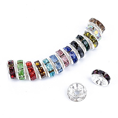 Bingcute 100 Pcs Bright Silver Crystal Rondelle Spacer Bead Plated 8mm Beads for jewelery Making Assorted Colors Beads for Bracelets