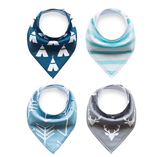 BabyLuv Soft Absorbent Bandana Baby Bibs for Teething, Drooling and Feeding Babies/Infants! - Arrows, Teepee, Stripes, Deer Style!