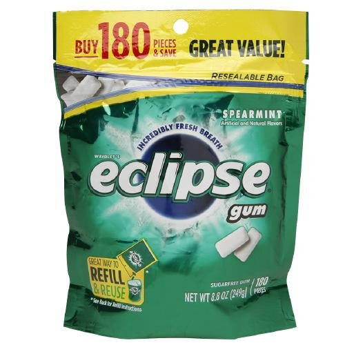 (Eclipse Sugar Free Gum, Spearmint 180 ea (Pack of 1) )